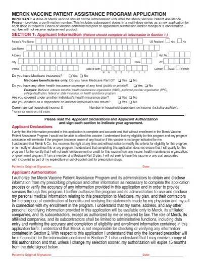 merck vaccine patient assistance program application - Indiana ...