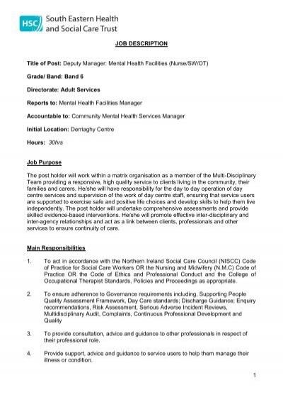 Job Description And Personnel Specification Hscrecruit