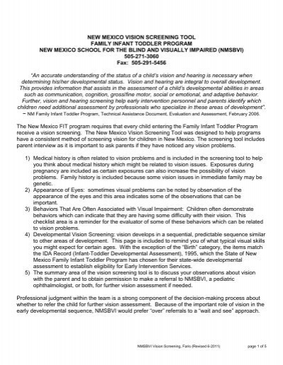 Nm vision screening form pdf new mexico school for the blind
