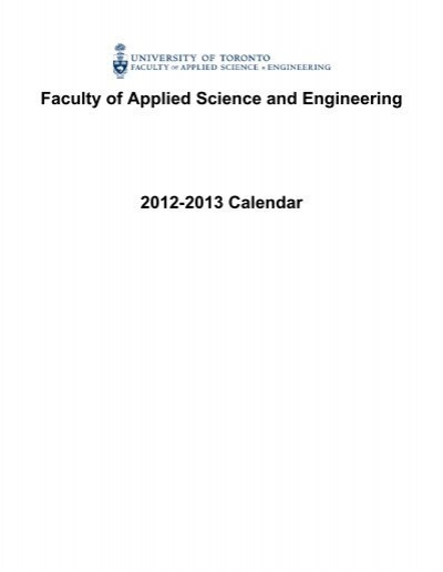 Faculty Of Applied Science And Engineering 2012 2013 Calendar