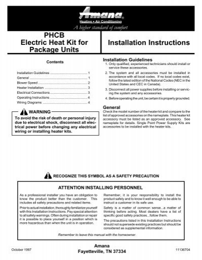 Installation instructions phcb electric heat kit for package units publicscrutiny Gallery