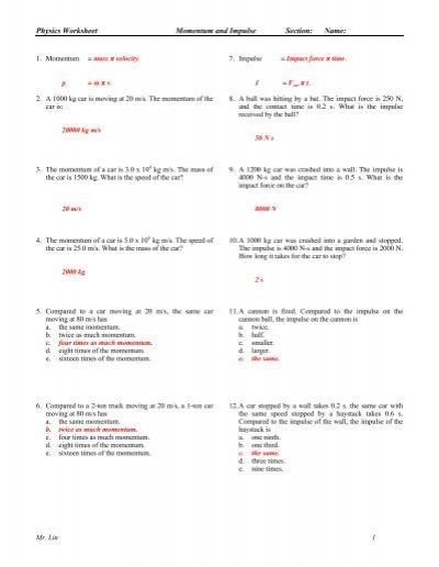 Physics Worksheet Momentum Impulse Work And Energyanswers