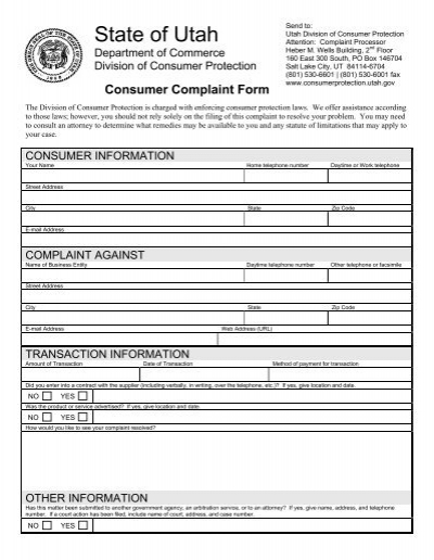 Consumer Complaint Form - Utah Division of Consumer Protection ...