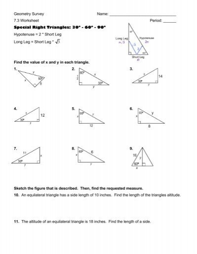 worksheets special right triangles 30 60 90 worksheet opossumsoft worksheets and printables. Black Bedroom Furniture Sets. Home Design Ideas
