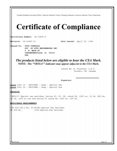 Certificate of Compliance - Otto