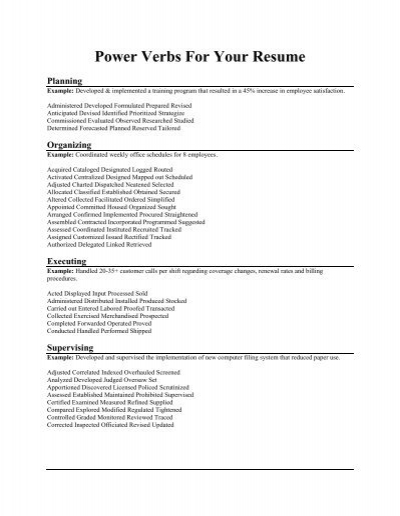 charming power verbs for your resume contemporary resume