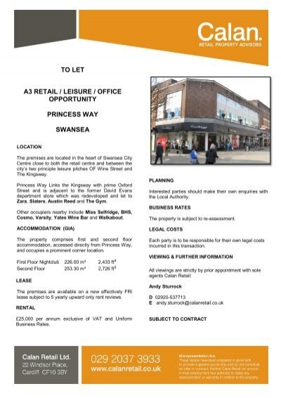 Swansea Princess Way Calan Retail Property Advisors