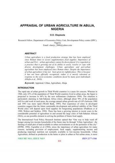Appraisal Of Urban Agriculture In Abuja Nigeria Abhinav Institute