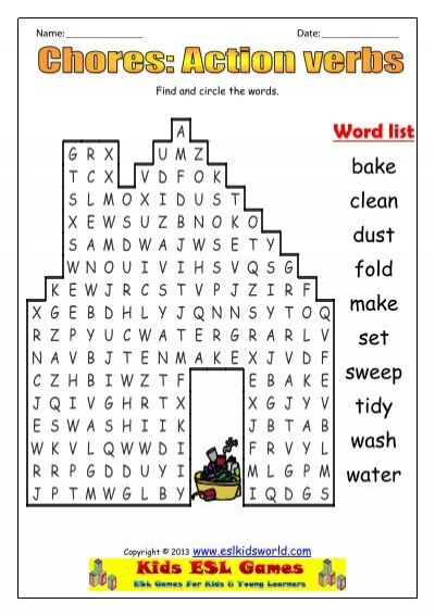 Chores Action Verbs Wordsearch Esl Kids World