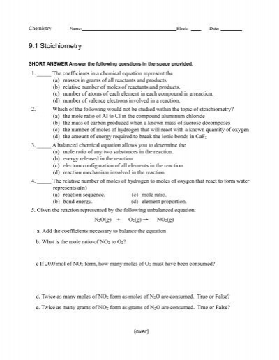 worksheet 9 1 stoichiometry. Black Bedroom Furniture Sets. Home Design Ideas