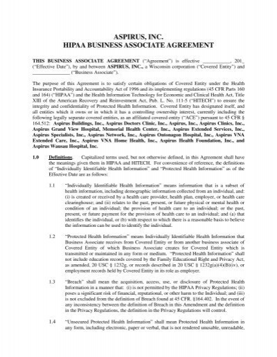 Aspirus, Inc. Hipaa Business Associate Agreement   Memorial Health .