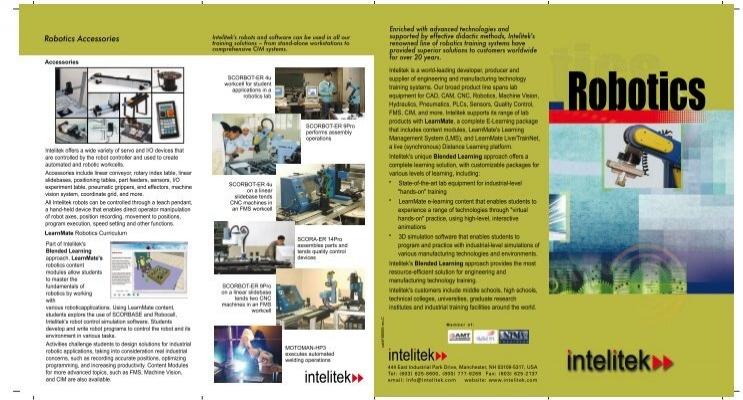 Robotics Product Line Tri Fold Brochure Intelitek