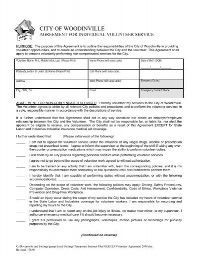Volunteer Agreement Form City Of Woodinville