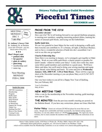 Quilt Guild Newsletter Ideas : DEC Newsletter final - the Ottawa Valley Quilters Guild
