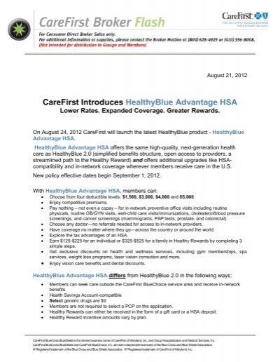 Carefirst Introduces Healthyblue Advantage Hsa