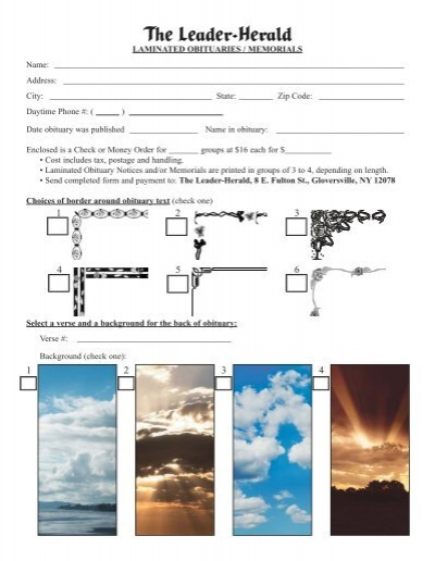 Laminated Obit Order Form - The Leader Herald