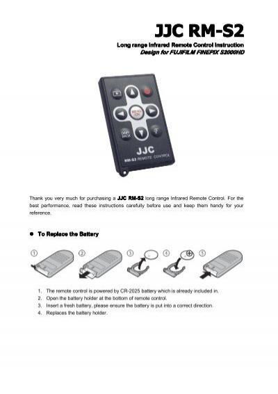JJC RM-S2 Wireless Infrared Remote Control Replaces Fujifilm ...