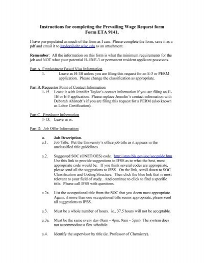 Eta Form 9141 Instructions For Completing The Prevailing Wage ...