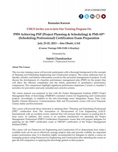 P959 Achieving PSP (Project Planning & Scheduling) & PMI ... - CMCS