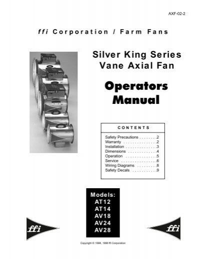 SK Vane Axial Fan Operators Manual - Models AT12, AT14 ... - ffi Farm Fans Wiring Diagrams on