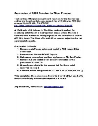 Conversion of 9003 Receiver to 70cm Preamp  - Ham-Radio com