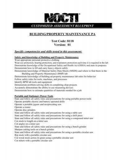 building property maintenance nocti rh yumpu com Industrial Maintenance Worker Maintenance Hiring Test