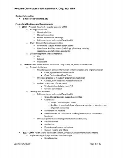 Nice Resume/Curriculum Vitae: Kenneth R. Ong, MD, MPH   Medical . In Mph Resume