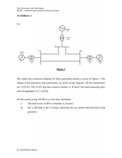 Tutorial 3  1  Figure 1 The Single Line Connection Diagram