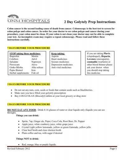 2 Day Golytely Prep Instructions Unm Hospitals