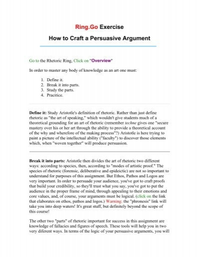 Ring Go Exercise How To Craft A Persuasive Argument