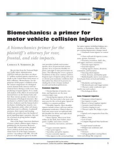 Biomechanics a primer for motor vehicle collision for Iowa motor vehicle laws