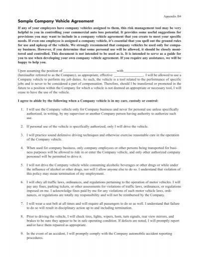 Sample company vehicle agreement fcci insurance group platinumwayz