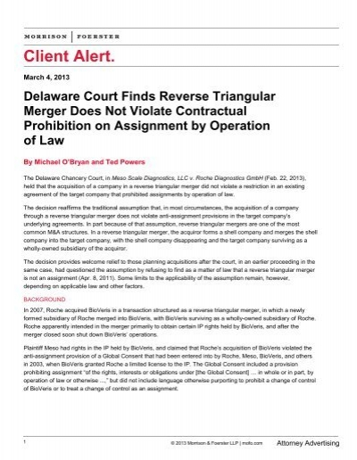 Delaware Court Finds Reverse Triangular Merger Does Not