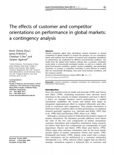 the effects of customer and competitor orientations on performance