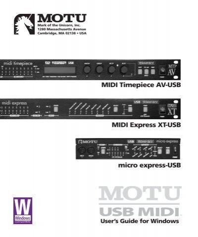 midi timepiece av usb user guide for windows motu rh yumpu com motu midi timepiece av manual