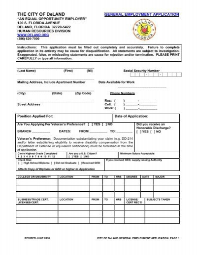 general employment application city of deland