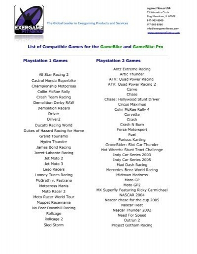 List of Compatible Games for t Playstation 1     - Exergame