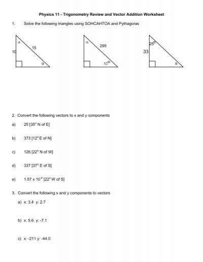 Physics 11 Trigonometry Review And Vector Addition La Citadelle