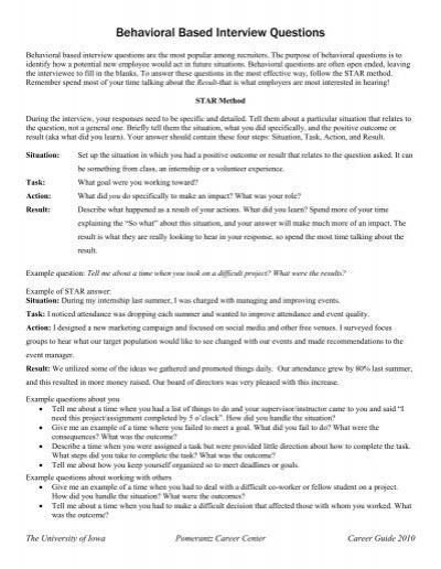 Behavioral Based Interview Questions Pomerantz Career Center
