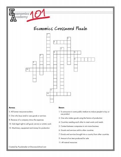 Economics Crossword Puzzle - Western Reserve Public Media