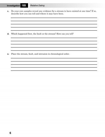 relative dating geology worksheets