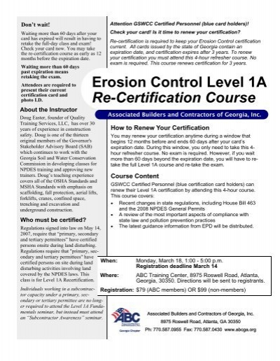 erosion control level 1a re-certification course - abc