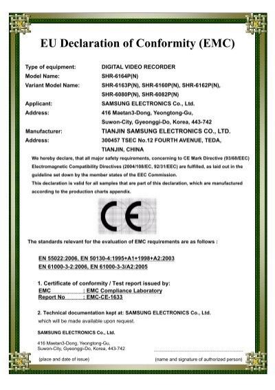 EU Declaration Of Conformity EMC