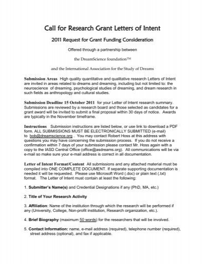 call for research grant letters of intent