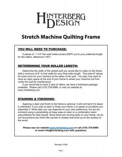 Stretch Machine Quilting Frame - Hinterberg Design