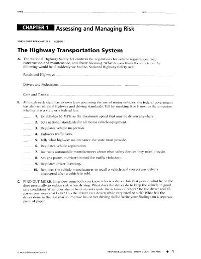 study guide ref responsible driving text for chapter 1 delsea rh yumpu com responsible driving study guide chapter 9 responsible driving study guide chapter 6