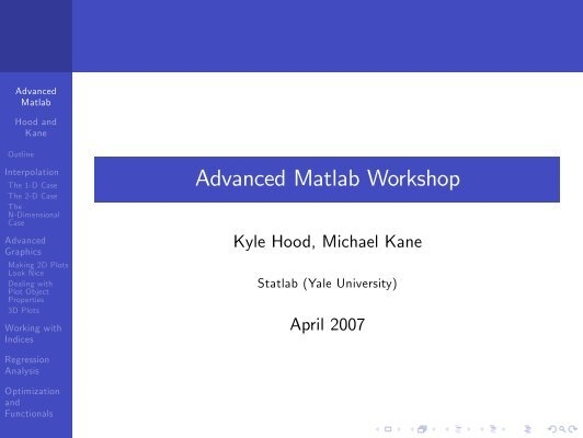 Advanced Matlab Workshop
