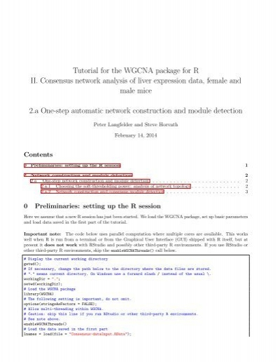 Tutorial for the WGCNA package for R II  Consensus network