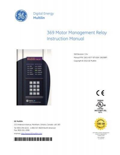 369 Motor Management Relay Chapter 1 Ge Digital Energy