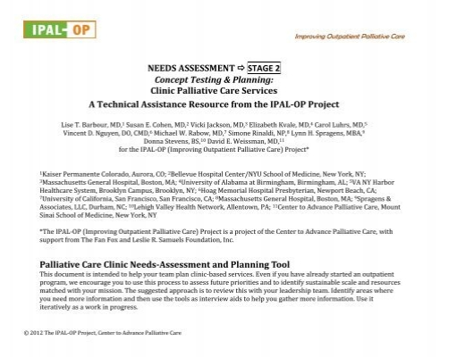 Outpatient Needs Assessment - Stage 2 (Clinic) - The IPAL